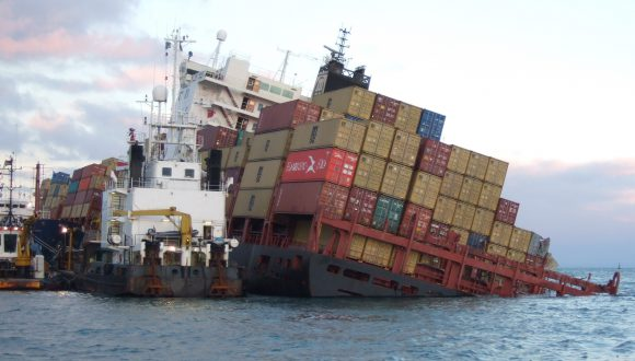 Sinking container ship